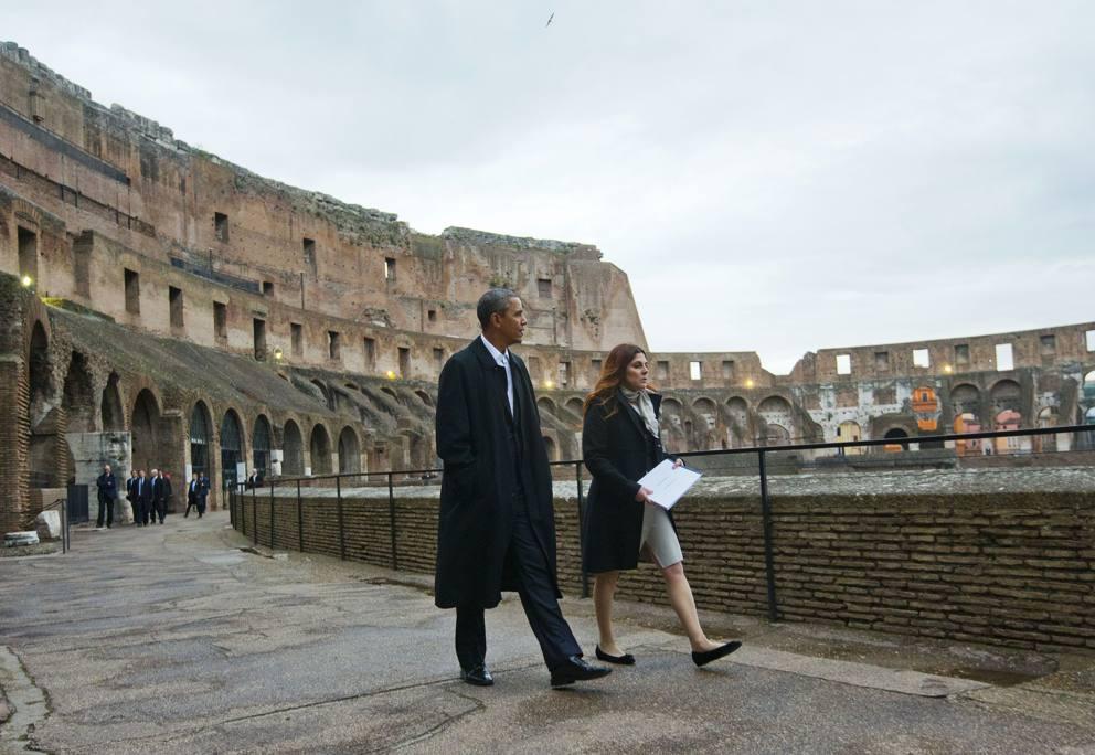 """Lo stupore del Presidente al Colosseo: """"Eccezionale, incredibile… più' grande di uno stadio di baseball"""""""