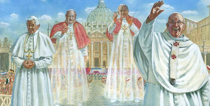 La domenica dei 4 Papi, Ratzinger e Bergoglio celebreranno la messa di canonizzazione di Wojtyla e Roncalli