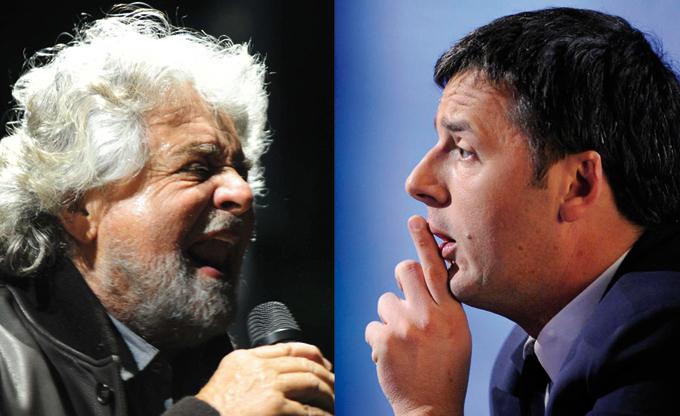 """Renzi contro Grillo: """"Uno sciacallo"""" """"Le europee un derby tra rabbia e speranza"""""""