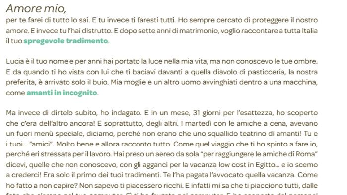 """Sul Corriere appare una pagina dove un uomo smaschera sua moglie: """"Mi hai tradito"""". Ma è solo un operazione di marketing"""
