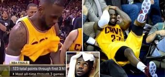 Finale Nba, il recupero dei Warriors trascinati dal cecchino Curry. In affanno i Cavaliers, James LeBron si ferisce scontrandosi con un cameraman
